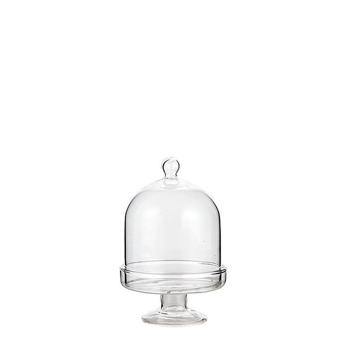 Mini plat gateau sur pied en verre cloche