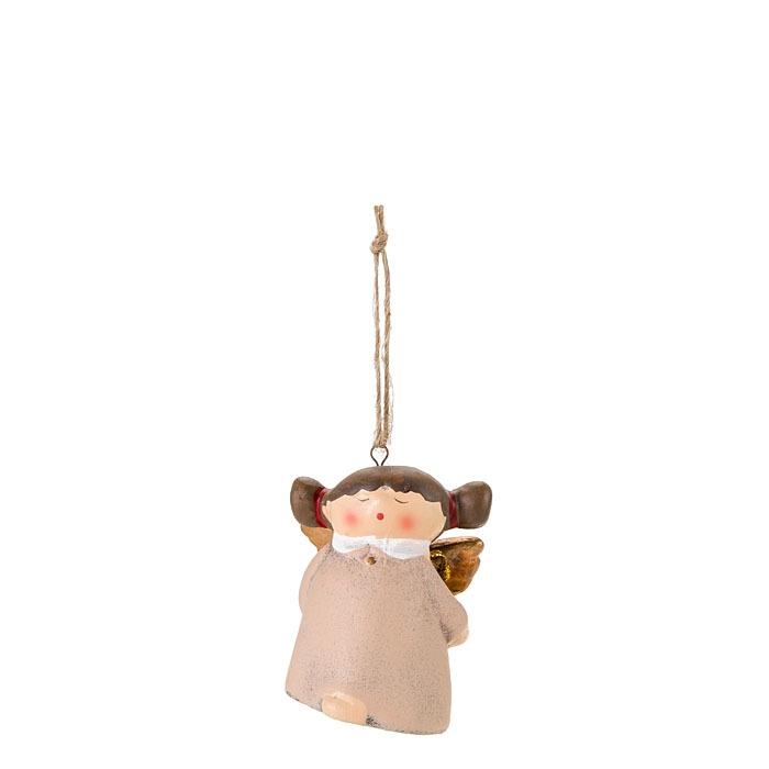Angelo assonnato con campanella colore panna 5 cm