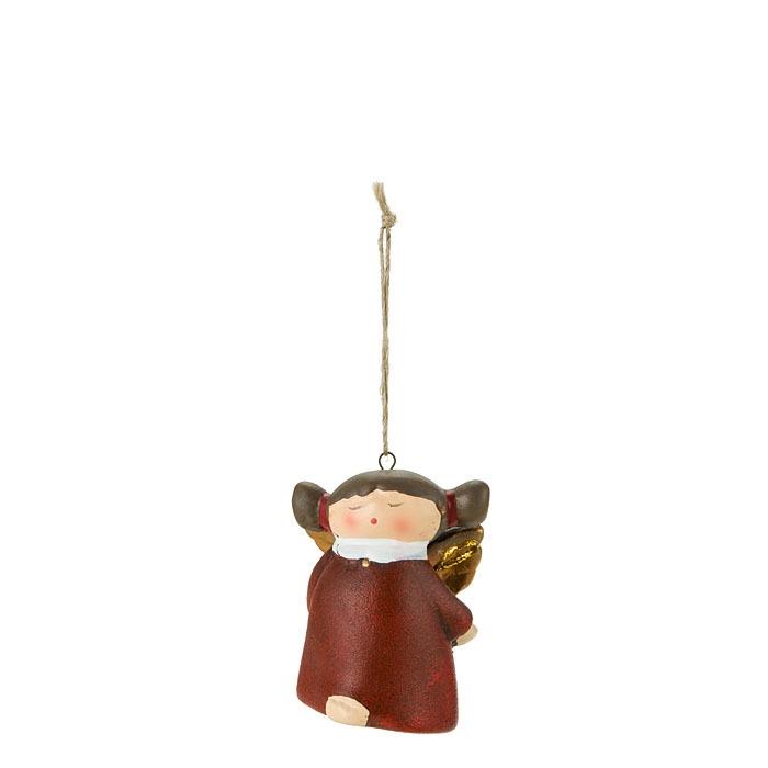 Angelo assonnato con campanella colore rosso h.5 cm