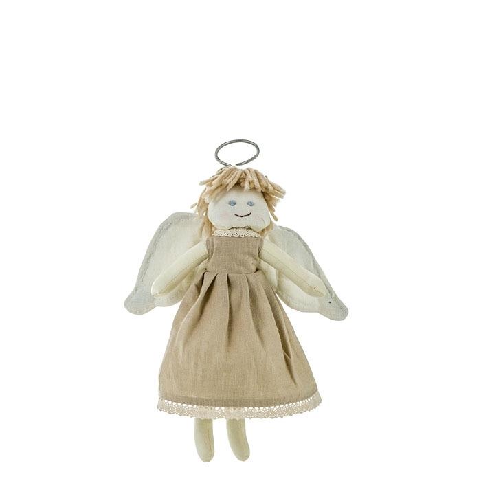 Angelo volante con vestito colore lino h29 cm