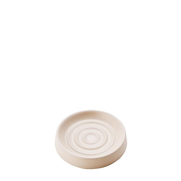 Portasapone in ceramica colore panna d10.5 cm