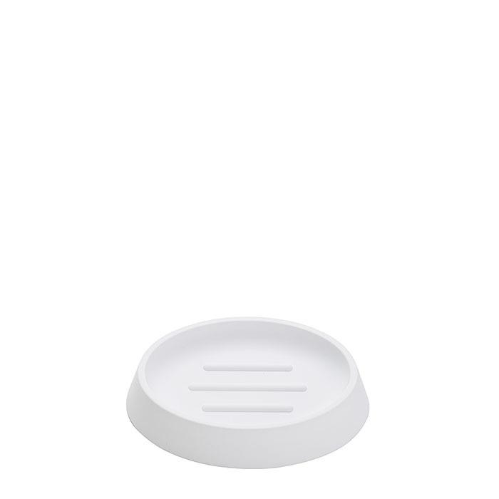 Portasapone in metacrilato softtouch colore bianco 9 x 13 h2.5 cm