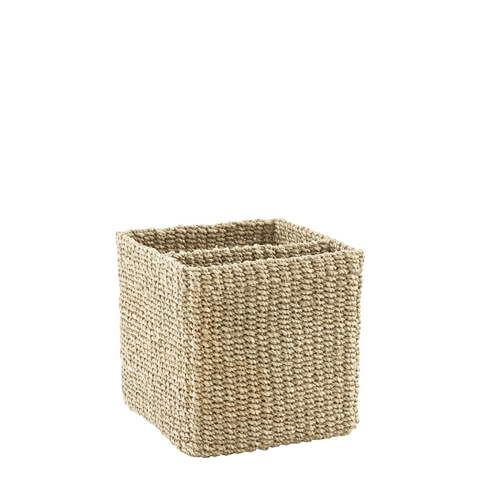 Abaca square basket 2 compartments cream color 15 x 15 h15 cm