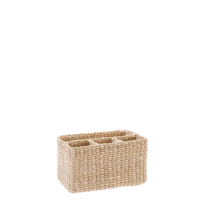 Abaca basket 3+1 compartments cream color 21 x 14 h12 cm