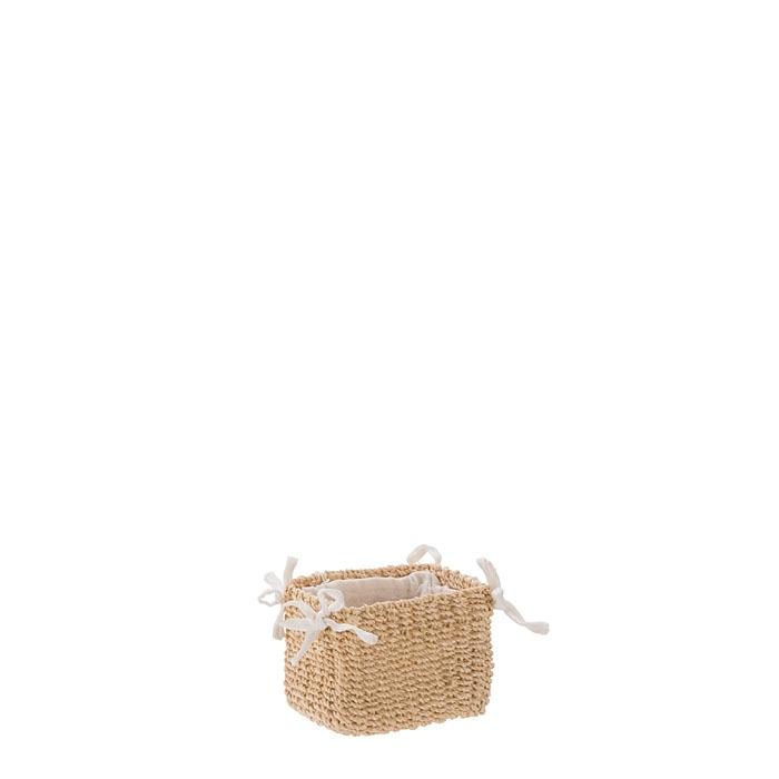 Petit panier en abaca couleur creme avec noeuds 7 x 9 h7 cm