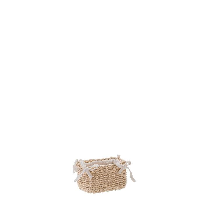 Petit panier en abaca avec noeuds couleur creme 6 x 9 h6 cm