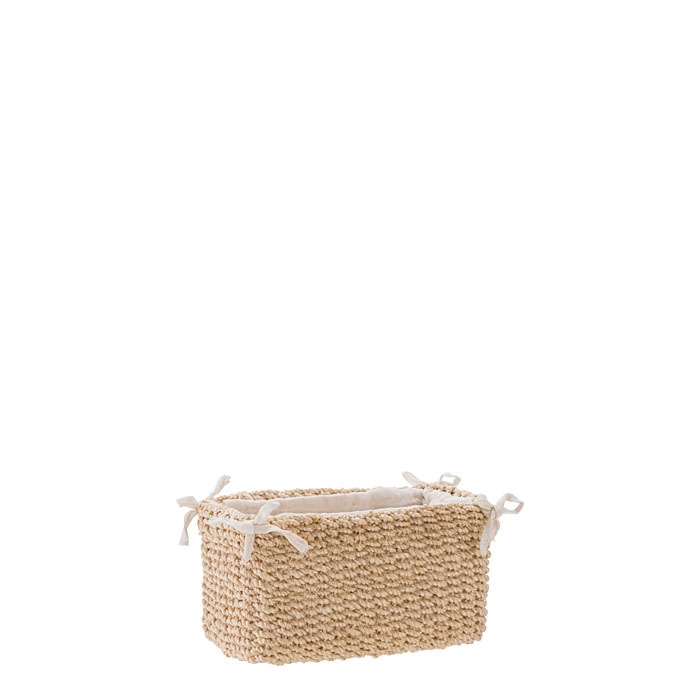 Small abaca basket with bows cream color 8 x 16 h9 cm