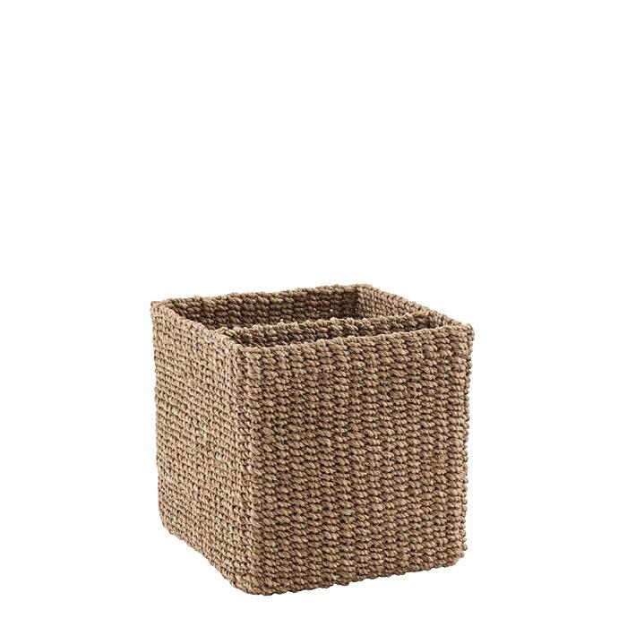 Panier carre avec 2 compartiments en abaca couleur lin 15 x 15 h15 cm
