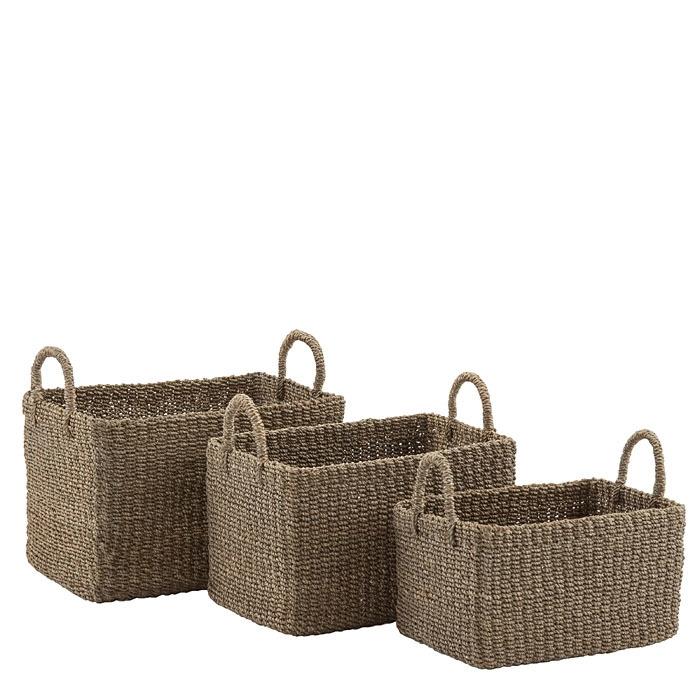 Set de 3 paniers en abaca couleur lin avec poignees h16/20/24 cm