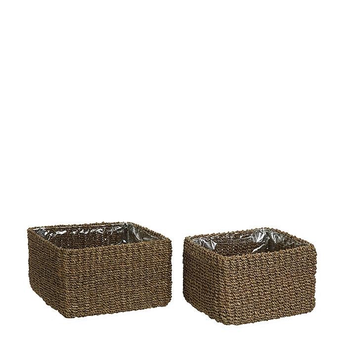 Set 2 paniers abaca doublure en plastique couleur lin h12 cm