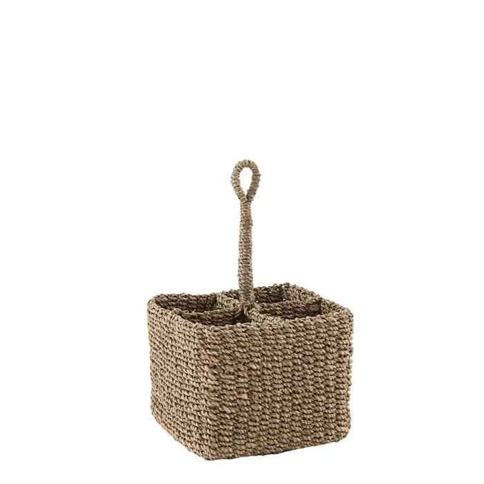 Small basket 4 compartments rigid handle linen color 16 x 16 h11 cm