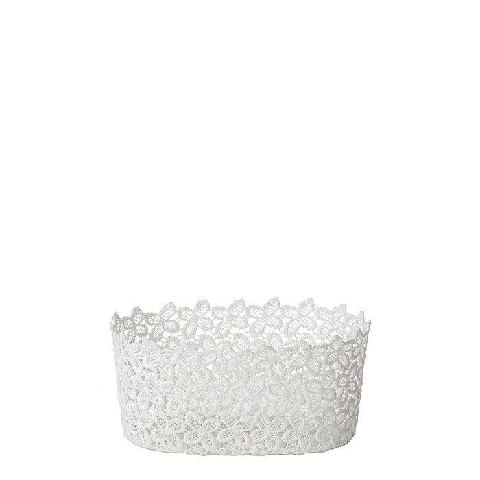 Ciotola ovale polyester in pizzo colore bianco 12 x 19 h9 cm