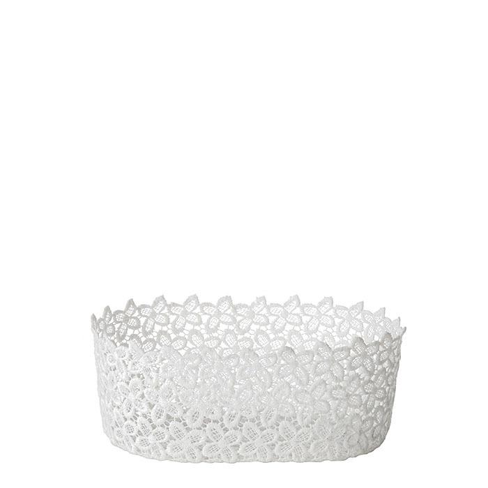 Oval lace bowl white color