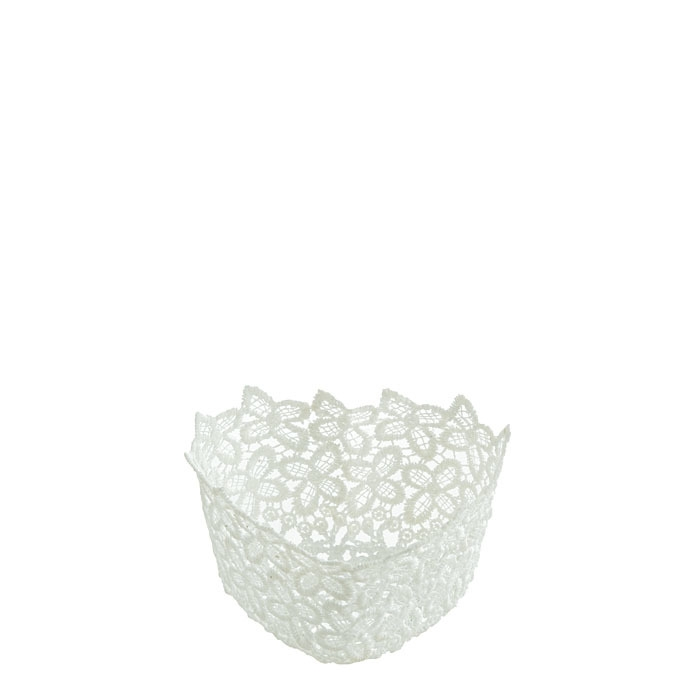 Cuore polyester in pizzo bianco 14 cm
