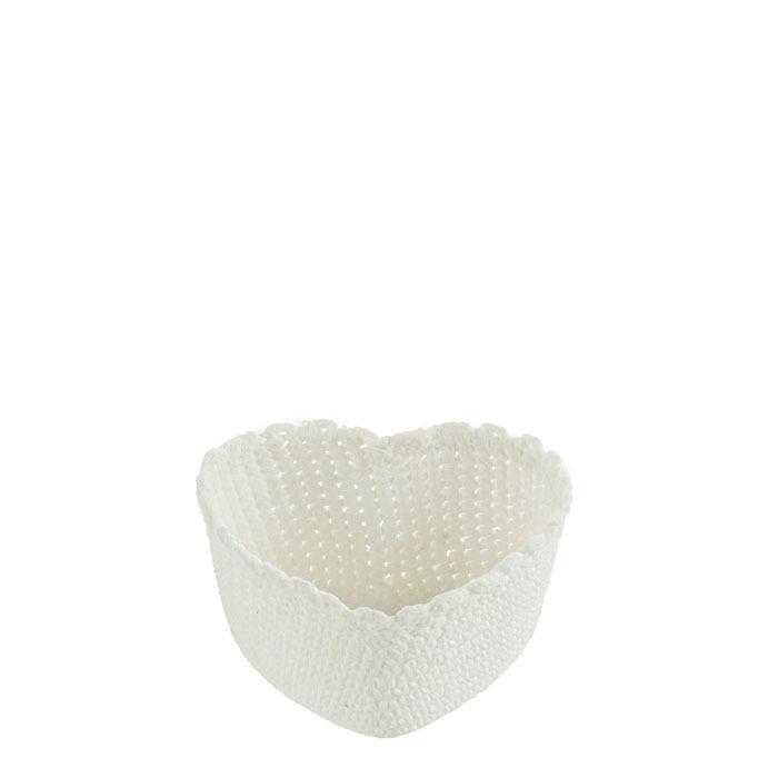 Cuore cesto in 100%cotone uncinetto colore bianco 13 cm
