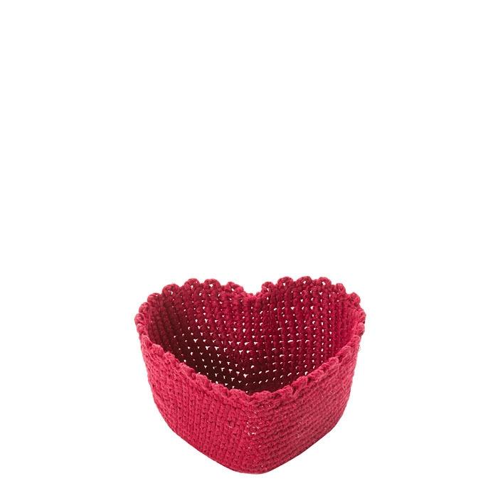 Cuore cesto in 100%cotone uncinetto colore rosso 13 cm