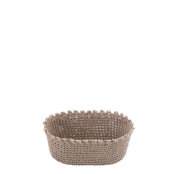 Cestino ovale colore lino cotone uncinetto 11 x 17 h7 cm