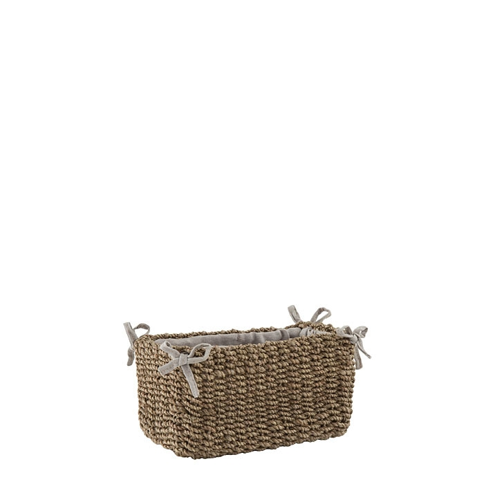 Small abaca basket linen color with bows 8 x 16 h9 cm