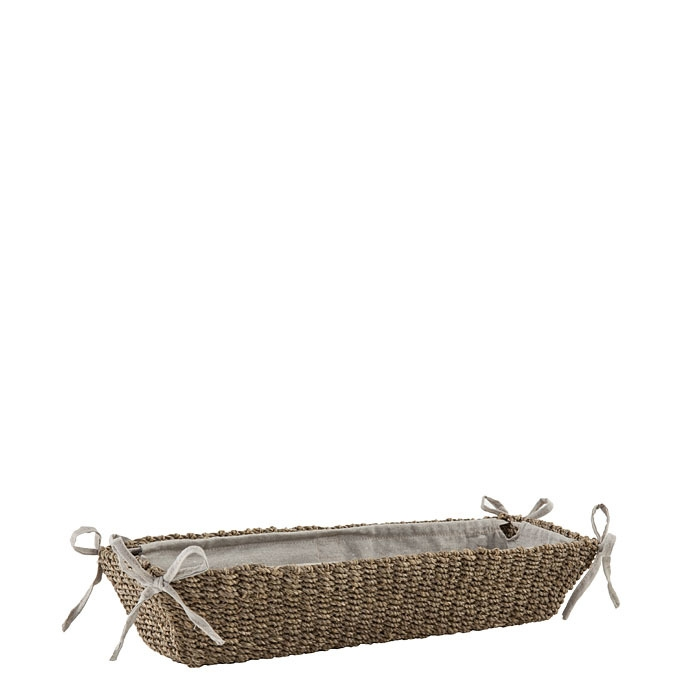 Abaca basket with bows linen color