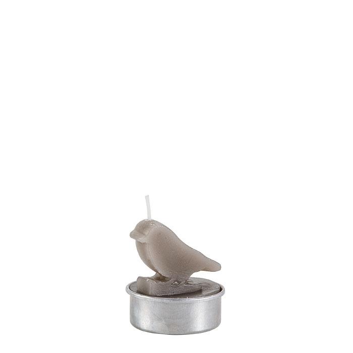 Set 6 candele uccellino colore grigio d4 h5 cm