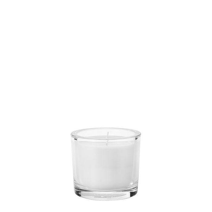 Petit vase avec bougie blanche parfume jasmine d9 h8 cm