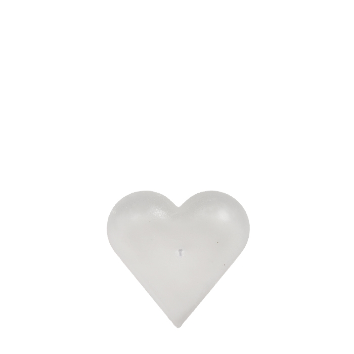 Heart shaped white candle 13 cm