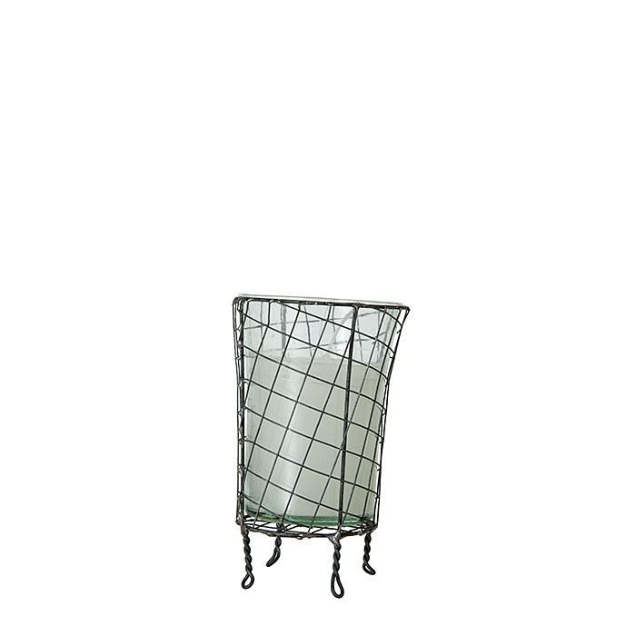 White candle in a vase and net cage d8 h13 cm