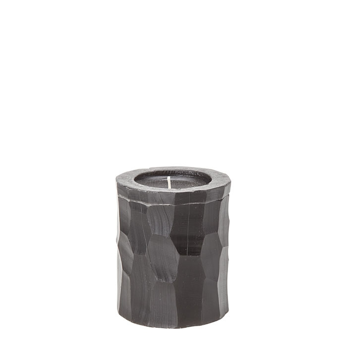 Faceted black candle h8 cm