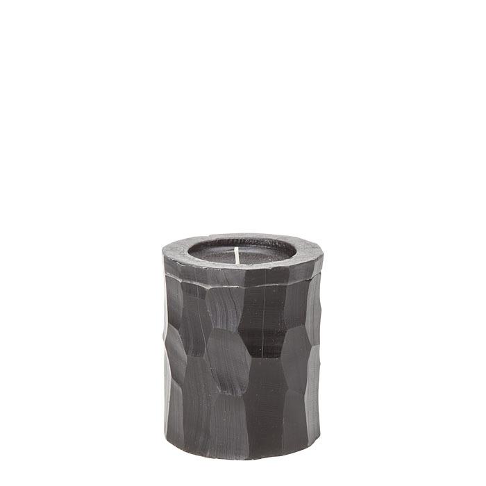 Bougie noire a facettes h8 cm