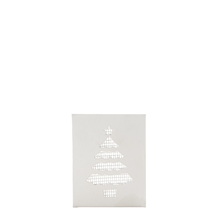 White tealight holder with tree