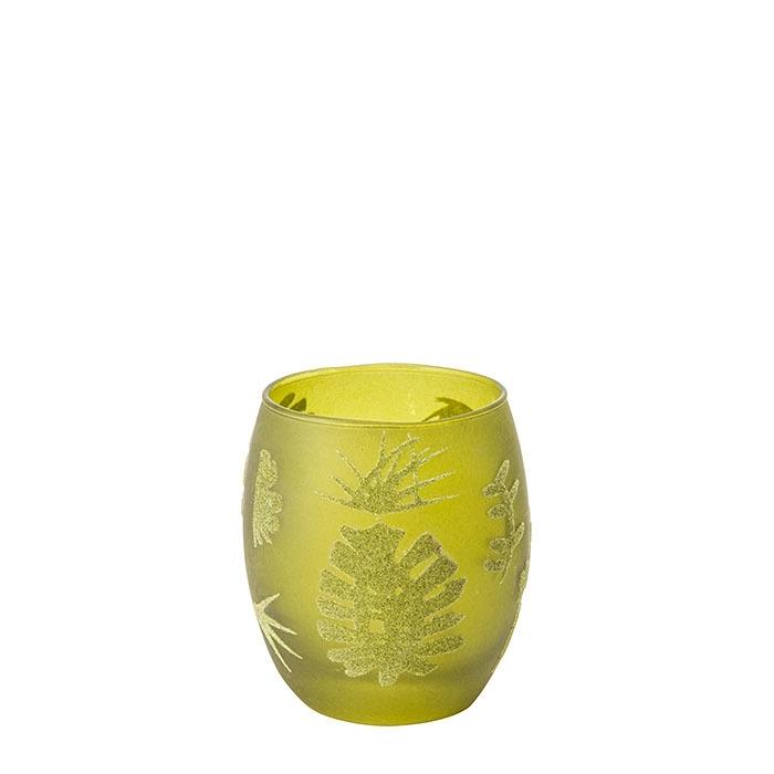 Verre porte tealight vert avec feuilles en feutre h9 cm