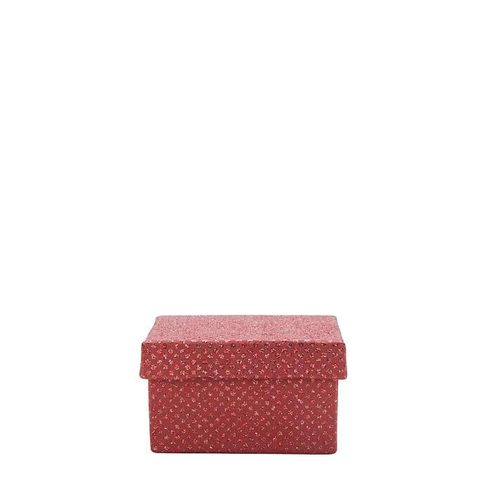 Scatola pois glitter di carta colore rosso 10 x 10 h6 cm