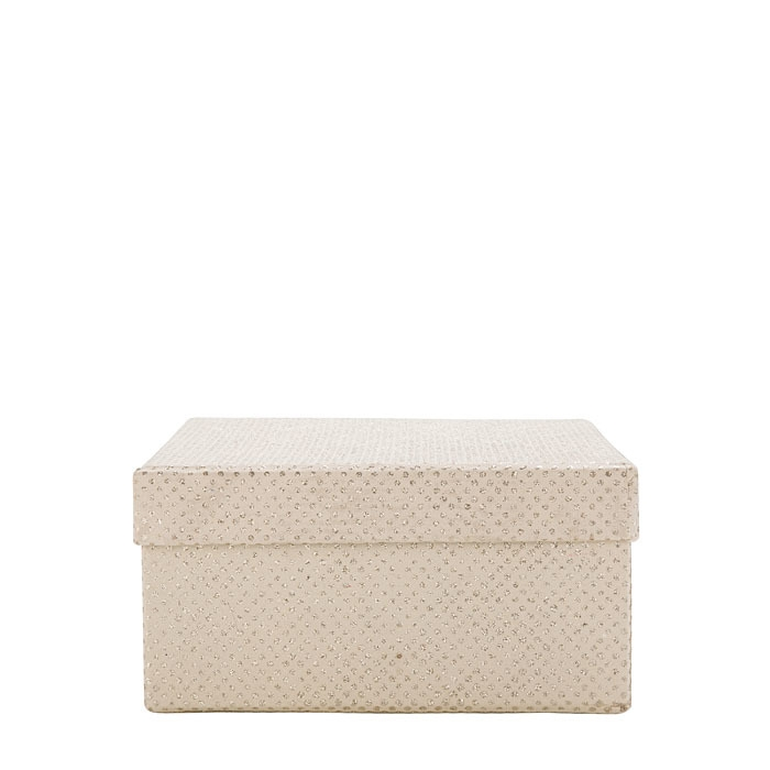 Glitter paper box linen color 17.5 x 17.5 h9 cm