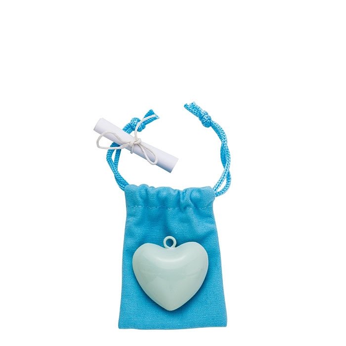 Cuore dindon chiamangeli colore azzurro con anello d4 cm