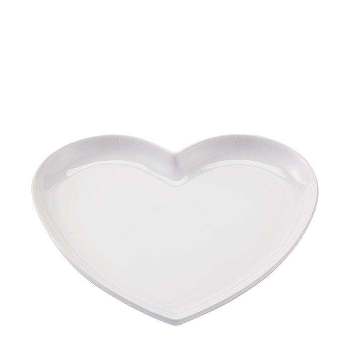 Piatto panna a forma di cuore in stoneware 21 x 23 cm