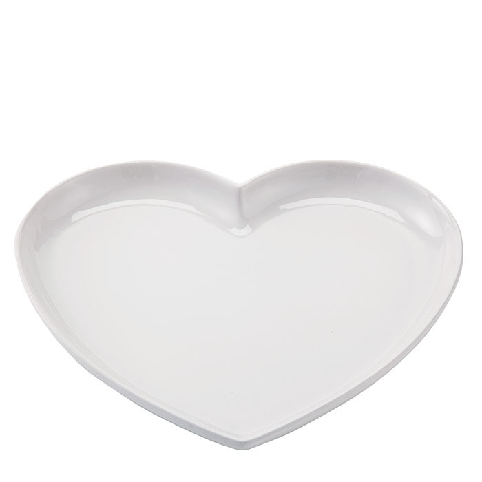Stoneware heart shaped plate 25 x 29 cm