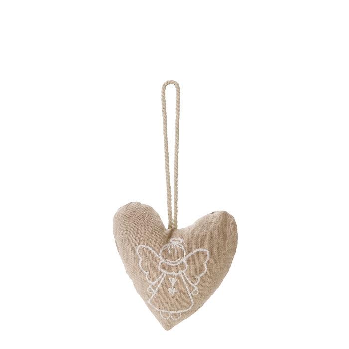 Cuore cotone con angelo ricamato h10 cm