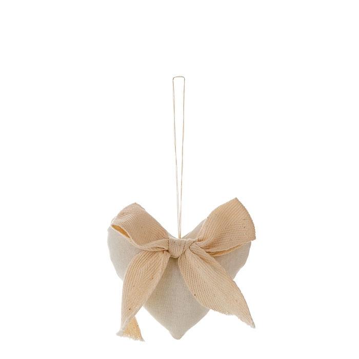 Cuore cotone colore panna e fiocco h9 cm