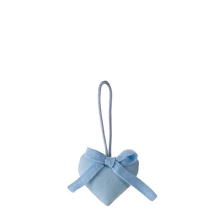 Cuore cotone colore azzurro con fiocco h5.5 cm
