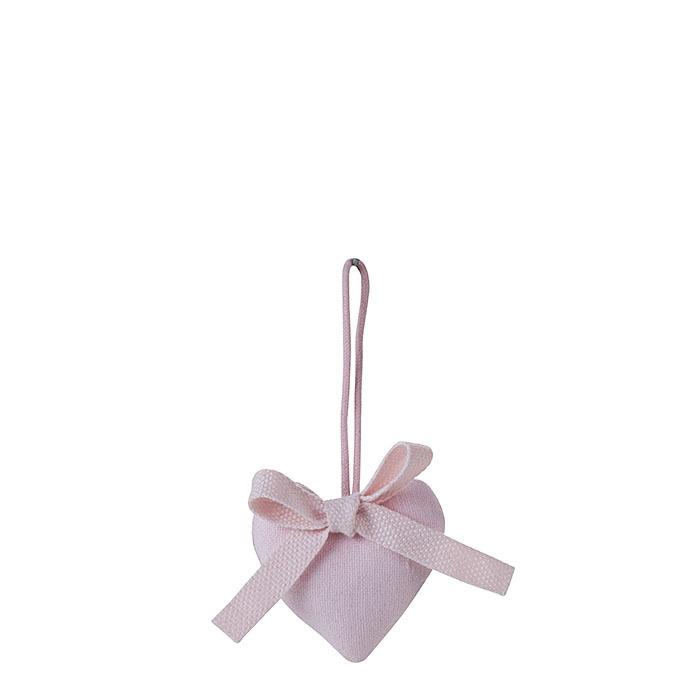 Cuore cotone colore rosa con fiocco h5.5 cm