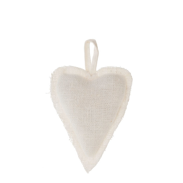 Cream 100% raw linen heart h15 cm