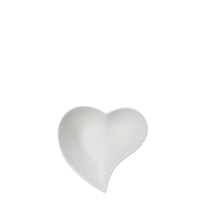 Ciotola porcellana bianca a forma di cuore curvo d12 h6 cm