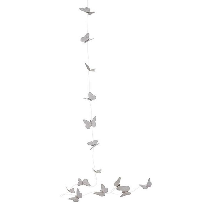 Plastic butterflies garland white color 150 cm