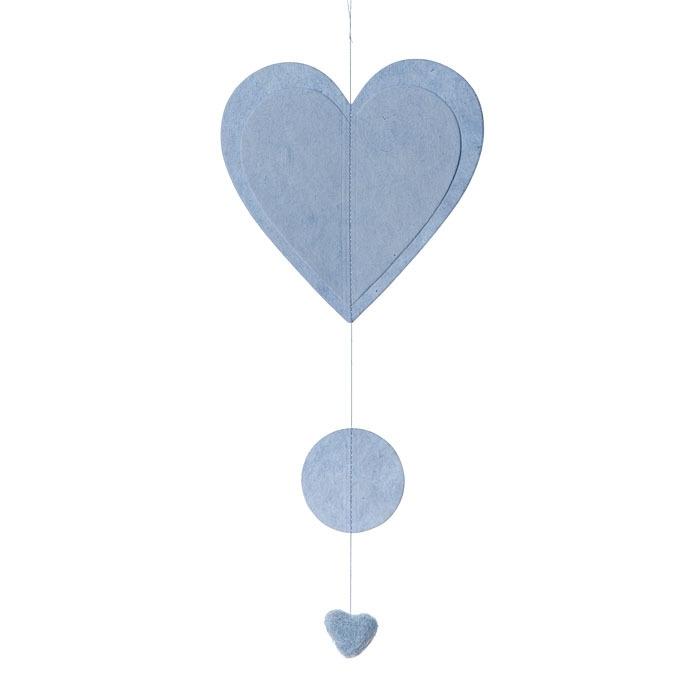 Coeur en papier couleur bleu clair 50 cm