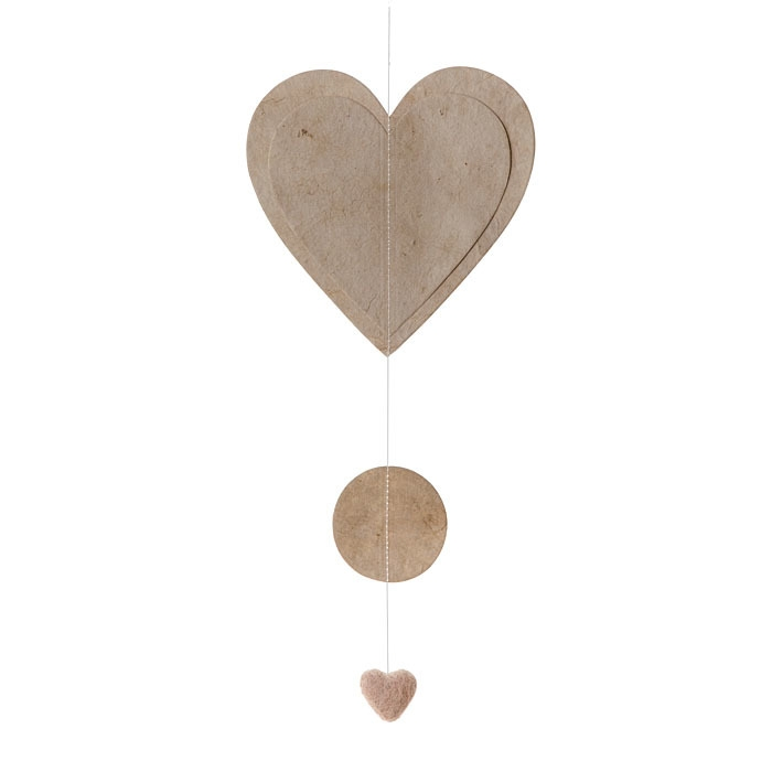 Paper heart garland linen color 50 cm