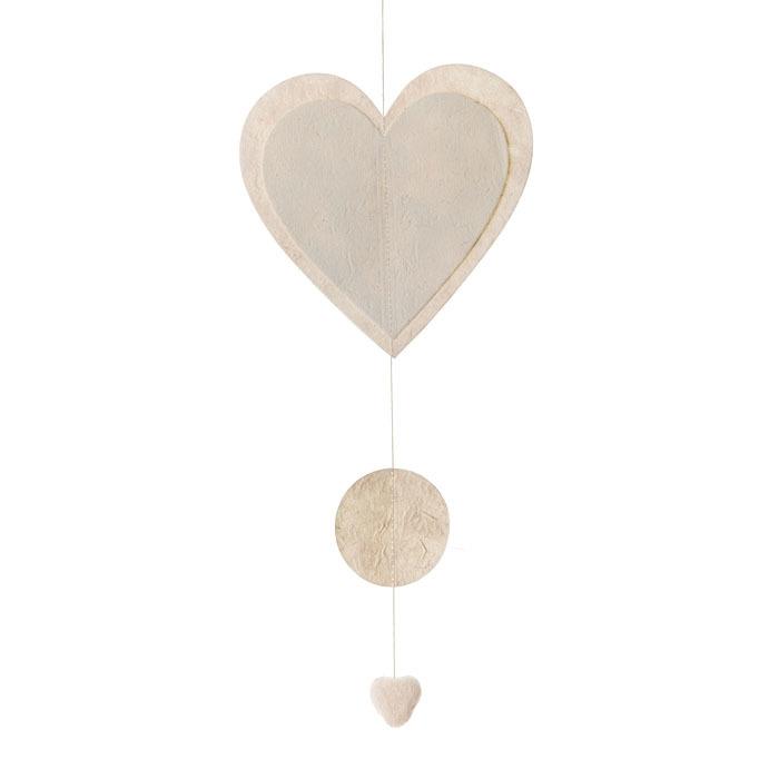 Paper heart garland cream color 50 cm