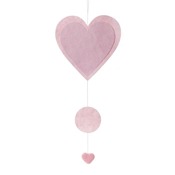Paper heart garland pink color  50 cm