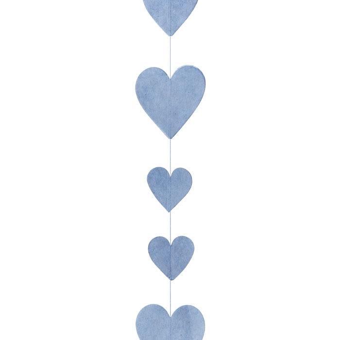 Paper hearts garland light blue color h160 cm