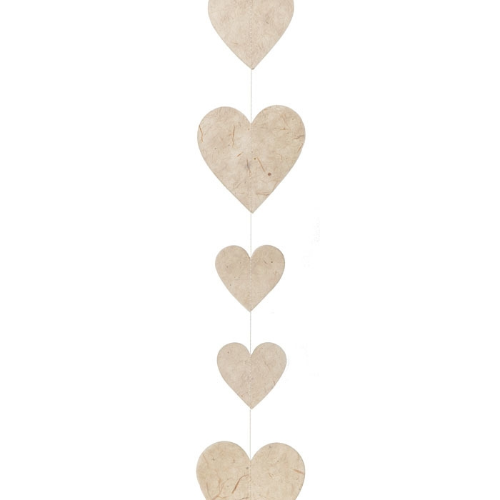 Paper hearts handmade garland cream color 160 cm