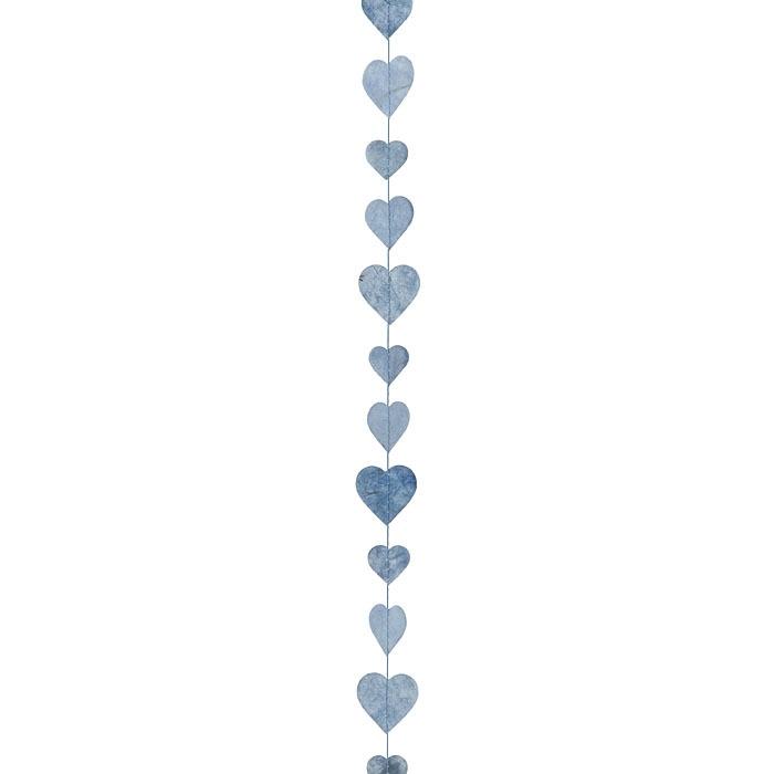 Paper small hearts handmade garland light blue color 160 cm